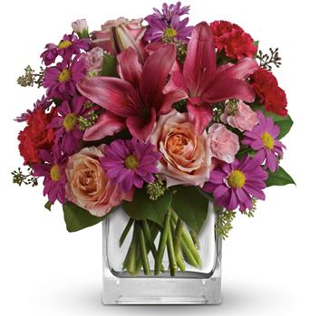 Category: Top 10 for Palmerston North flower delivery. Code: A39. Name: Enchanted Garden. Description: Take a wondrous walk through this enchanted garden of peach roses, pink lilies and purple daisies. Price: NZD $79.95 Options: 1. Add Chocolates. 2. Add a Teddy Bear. 3. Add both.