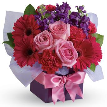 Code: A41. Name: Simply Stunning. Description: A stunning study in contrasts, this fabulously feminine arrangement mixes pale pink roses with hot pink gerberas and purple stock. A simple way to show you care! Price: NZD $82.90