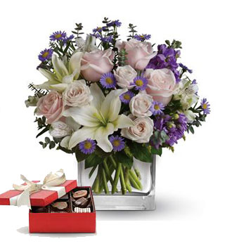 Code: A58CH. Name: Watercolour Wishes with a box of chocolates. Price: NZD $109.90