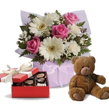 Code: A60CT. Name: Sweet Thoughts with a box of chocolates and a Teddy Bear. Price: NZD $102.90