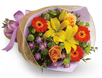 Code: B27. Name: Bright Lights. Description: A burst of brilliant flowers designed to make their spirits soar! This spectacularly colourful bouquet includes lilies, gerberas and roses. Price: NZD $72.90