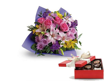 Code: B33. Name: Love and Laughter. Description: Contemporary yet classic, this bouquet includes an elegant mix of roses, lilies and alstroemeria. Price: NZD $124.90