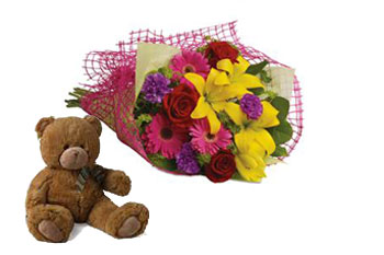 Code: B38. Name: Fun in the Sun. Description: Let the sun shine in with this exuberant bouquet of golden lilies, rich red roses and hot pink gerberas. Price: NZD $109.90