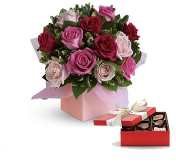 Code: R19. Name: Blushing Roses. Description: Sing her a love song - with roses. This lush red and pink rose arrangement tells her just how much you care. Price: NZD $99.90