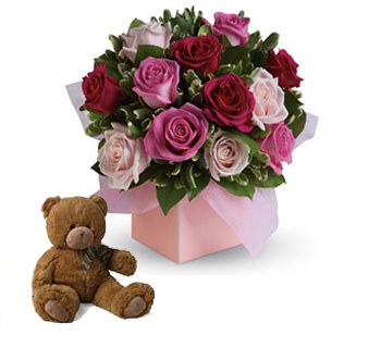 Code: R19. Name: Blushing Roses. Description: Sing her a love song - with roses. This lush red and pink rose arrangement tells her just how much you care. Price: NZD $107.90