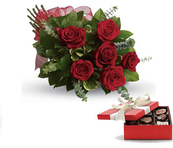 Code: R28. Name: Fall in Love. Description: They will fall in love with you all over again when you surprise them with this perfectly petite bouquet of six sensational roses amidst beautiful fresh greens. Price: NZD $92.90