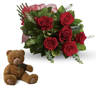 Code: R28. Name: Fall in Love. Description: They will fall in love with you all over again when you surprise them with this perfectly petite bouquet of six sensational roses amidst beautiful fresh greens. Price: NZD $97.90