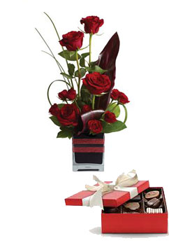 Code: R30. Name: Rose Romance. Description: Roses, the traditional flower of love, receive a modern twist in this imaginative arrangement, stylishly presented in a contemporary glass cube. Price: NZD $111.90