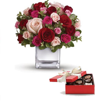 Code: R31. Name: Lovely Melody. Description: Their heart will break into song when this romantic cube of ravishing roses arrive! A symphony of size and shade, this red and pink present will hold their heart forever. Price: NZD $147.90