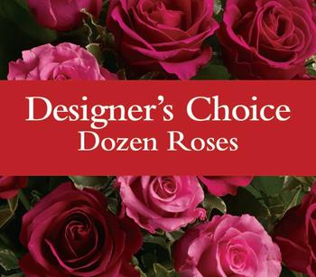 Florists choice twelve roses displayed beatufully for delivery